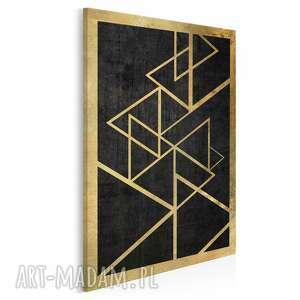 obraz na płótnie - trójkąty złoto w pionie 50x70 cm 34603