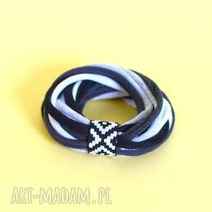 handmade bransoletki bransoletka dzianinowa bawełniana szara
