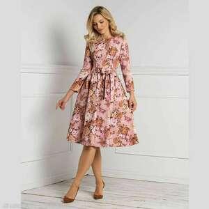 sukienka marie 3/4 midi sybilla, midi, kwiatowe wzory, kwiaty, jesień