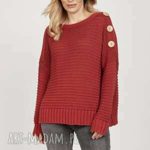 bawełniany sweter - swe223 marsala mkm, do pracy, szkoły, bawełna