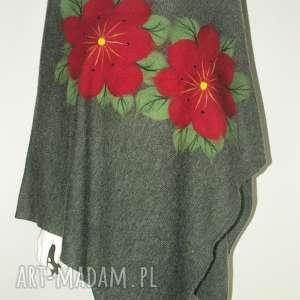 ponczo wełną zdobione, filcowane, damskie, ponczo, eleganckie, prezent, kwiaty