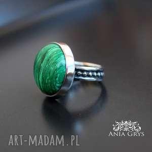 Pierścionek z malachitem, malachit, srebrny, pierścionek, oksydowany, orientalny,