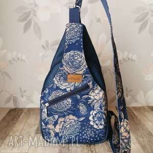 Plecak kompaktowy dwukomorowy ekoskóra handmade na ramię kwiaty