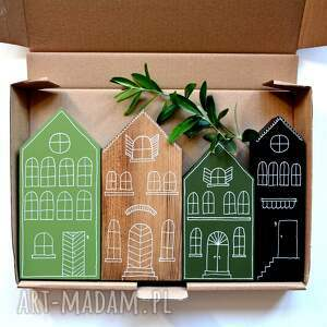 dekoracje 4 x domki malowane ręcznie, domki, malowane, miasteczko
