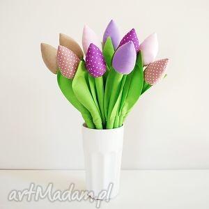 bukiet bawełnianych tulipanów, tulipany, dekoracje, szyte, kwiaty, tulipany