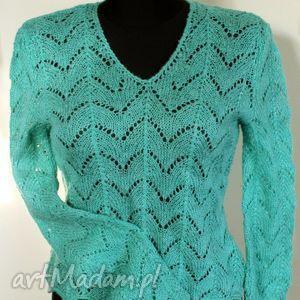 ażurowy, turkusowy sweter damski dziergany na drutach rozm,36-38
