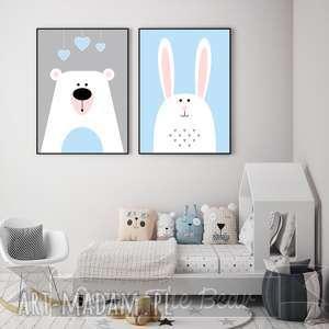 """Zestaw plakatów dla dzieci """"miś i króliś"""" a4 pokoik dziecka"""