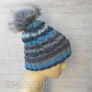 gruba czapka zimowa z pomponem unisex - czapka zimowa, czapka warkocze, czapka w góry