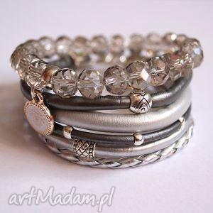 set fifty shades of silver, rzemienie, swarovski, zawieszka, zestaw, kamienie