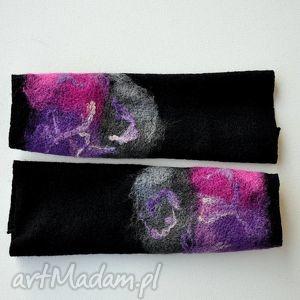 handmade rękawiczki mitenki z szarym