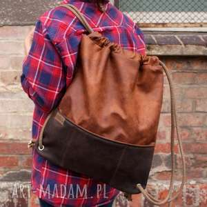 plecak vegan koniak czekolada, plecak, vegan, boho, minimal, troczek, worek