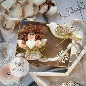 dekoracje świąteczny podarek paczuszka skrzydlatych zawieszek anioł i ptak