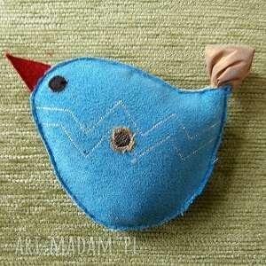 broszka sowa nr 7 - ptak, niebieski, turskus, zapięcie, srebrzysty