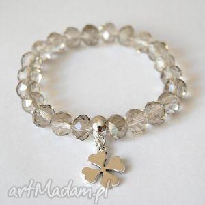 bransoleta crystal swarovski beads clover, swarovski, kryształy, zawieszka
