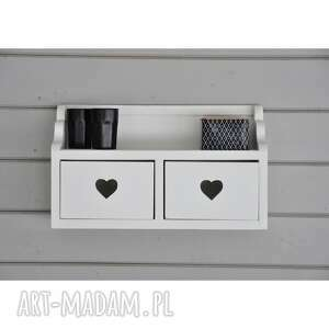 dom półka z szufladkami, drewniana, półeczka, serduszkami, na ścianę