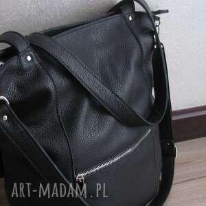 duża skórzana torba z zamkami, czarna torebka, regulowany pasek