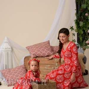 komplet świątecznych sukienek czerwonych dla mamy i córki, kompletmamacórka