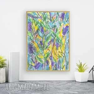 oprawiony rysunek z dżunglą, ładny obraz do sypialni, nowoczesny w ramce, dżungla