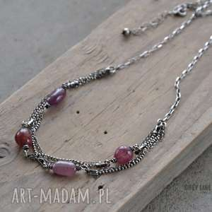 naszyjnik z czerwonych szafirów - srebro, szafir, szlachetne, kamienie