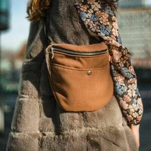 duża nerka z flauszu camel, xxl, handmade, na jesień