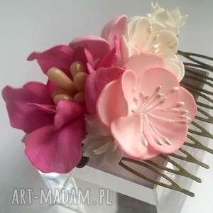 hand-made ozdoby do włosów grzebyk kwiatowy ślubny sesja