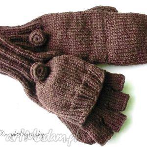 Bezpalczatki z klapką #15, rękawiczki, jednopalczaste, mitenki, klapka, dziergane