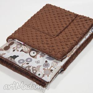 kocyk przedszkolaka minky - czekoladowe sowy - 135x100 - kocyk, minky, kołderka