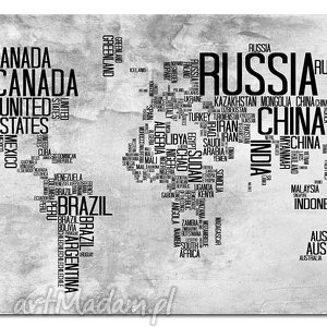 obraz xxl mapa świata 13 - 120x70cm na płótnie czarny szary państwa