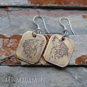 kolczyki z trawionego mosiądzu - wilki 158 - wyjący, wilk, wilki, kolczyki