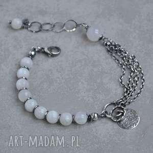 kamień księżycowy i agat brazylijski srebrna bransoletka z zawieszką, srebro