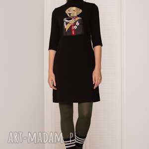 sukienki sukienka z psem, sukienki, prosta, naszywka, pies, militarna, midi