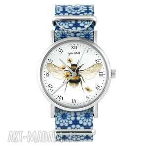 zegarki zegarek - bee natural niebieski, kwiaty, zegarek, nylonowy pasek, typ