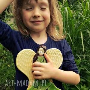 zielony anioł, anioł, aniołek, prezent na roczek, chrzest, wiszący