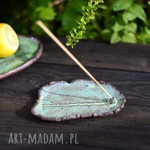 podstawka na kadzidełka, talerzyk liść zielony, w stylu shabby chic