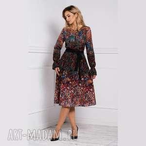 sukienki sukienka colin midi celestia, sukienka, midi, długi rekaw, jesień