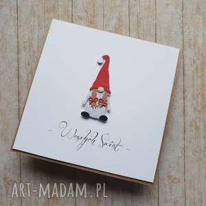 kartka świąteczna - stylowa i wyjątkowa pani krasnalowa, mikołaj, krasnal
