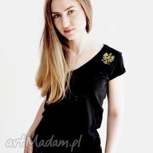 Koszulka ze złotą aplikacją orła, polska, orzeł, koszulka, czarna, handmade