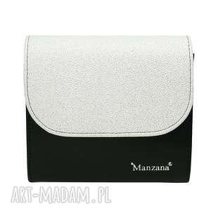 Kopertówka koperta MANZANA czarno srebrna, torebka, damska, kopertówka,