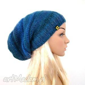 długa czapka w błękitach - czapka, czapeczka, jesień, zima, komplet