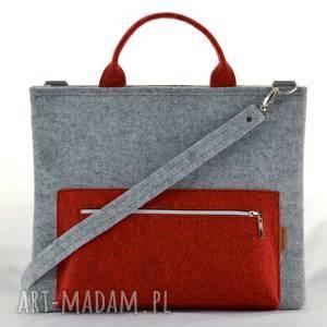 torebka laptopówka minimalistyczna - filcowa torba na laptopa szara i czerwona