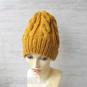 albadesign wełniana czapka musztardowa unisex, męska czapka