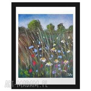 łąka-praca wykonana pastelami suchymi, łąka, kwiaty, pastele