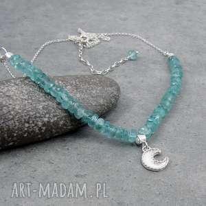 moon charm necklace with apatite, romantyczny, księżyc boho vintage, charms
