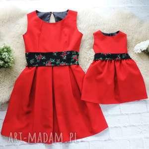 sukienki góralska sukienka dla mamy i córki folk czerwone, sukienki, mama, córka