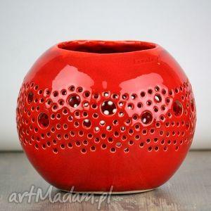 Lampion BALL czerwony - lampion, lampa, ażur, świeca, tealight, kula