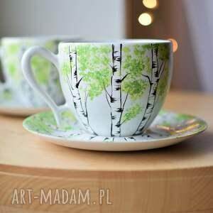 ceramika filiżanki brzozy ślubne podziękowanie 2x270ml, do kawy