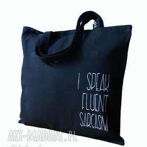 Czarna torba na ramię I speak fluent sarcasm, torba-na-ramie, torba-na-zakupy