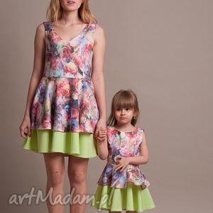 Komplet sukienek dla mamy i córki!, sukienka, falbany, koło, kwiaty, żakard, córka