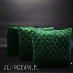 poduszki ekskluzywne - zestaw 1 butelkowa zieleń, velvet, aksamit