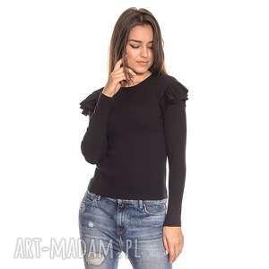 czarna bluzka z falbanką na rękawie, w-prążki, elastyczna, długi-rękaw, damska